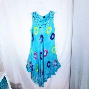 #C37 Light Blue Tie Dye Sundress
